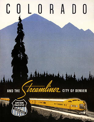 Denver Drawing - Colorado And The Streamliner City Of Denver - 1936 by Mountain Dreams