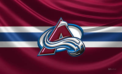 Colorado Avalanche - 3 D Badge Over Silk Flag Original by Serge Averbukh
