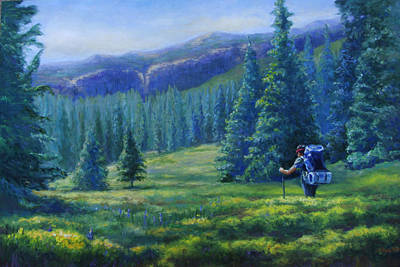 Backpacking Painting - Colorado Backpacker by Susan Thacker