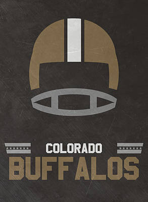 Buffalo Mixed Media - Colorado Buffalos Vintage Football Art by Joe Hamilton