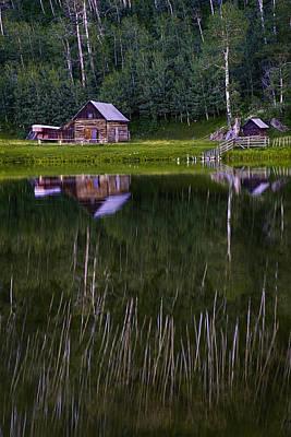 Mountain Photograph - Colorado Cabin Lake Reflections Vertical by Dave Dilli