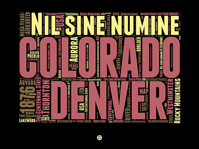 Rocky Mountains Digital Art - Colorado Word Cloud Map 1 by Naxart Studio