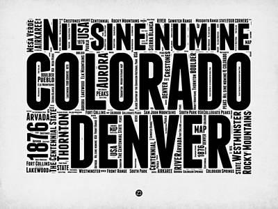 Rocky Mountains Digital Art - Colorado Word Cloud Map 2 by Naxart Studio