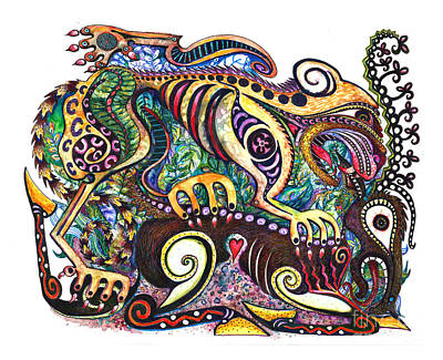 Iraq Drawing - Colored Cultural Zoo D Version 2 by Melinda Dare Benfield