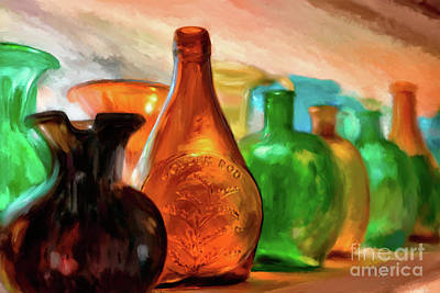Colored Glass Bottles In The Window Print by Lois Bryan