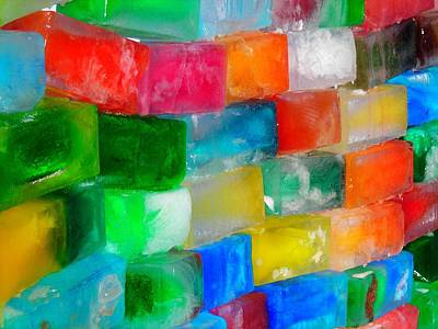 Wall Mural Photograph - Colored Ice Bricks by Juergen Weiss