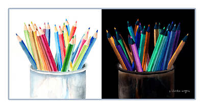 Colored Pencils - The Positive And The Negative Print by Arline Wagner