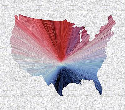 Independence Day Flag Mixed Media - Colorful Art Usa Map Blue, Red And White by Saribelle Rodriguez