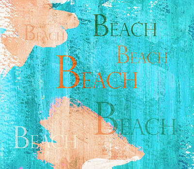 Colorful Beach Sign Print by Frank Tschakert