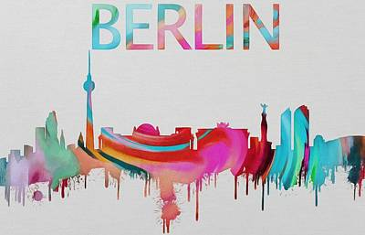 Berlin Mixed Media - Colorful Berlin Skyline Silhouette by Dan Sproul
