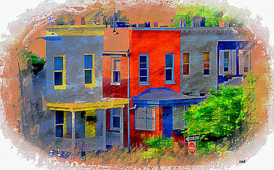 Orioles Drawing - Colorful Block In Federal Hill, Baltimore, Md.  by Chet  Dembeck