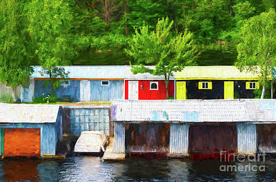 Muskoka Photograph - Colorful Boathouses - Painterly by Les Palenik