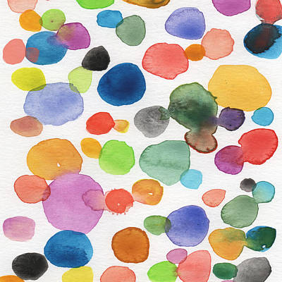 Contemporary Abstract Art Mixed Media - Colorful Bubbles by Linda Woods