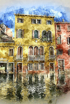 Venice Photograph - Colorful Buildings In Venice Italy by Brandon Bourdages