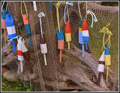 Colorful Buoys And Crabbing Net Original by Dora Sofia Caputo Photographic Art and Design