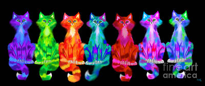 Digital Art - Colorful Calico Cats by Nick Gustafson