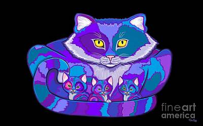 Drawing - Colorful Cat And  Kittens by Nick Gustafson