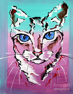 Portrait Painting - Colorful Cat - Animal Art By Valentina Miletic by Valentina Miletic