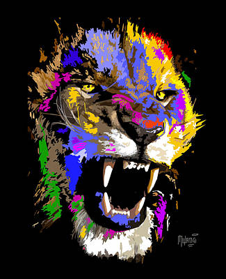 Lion Painting - Cat Snarl by Anthony Mwangi