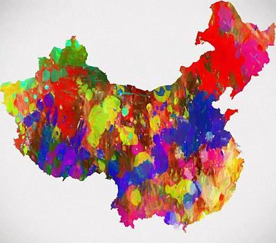 Hong Kong Mixed Media - Colorful China Map by Dan Sproul