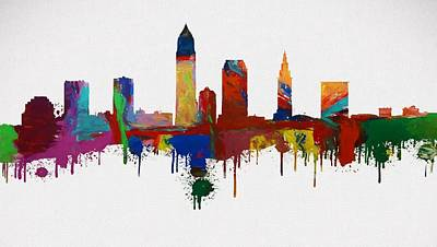 Colorful Cleveland Skyline Silhouette Print by Dan Sproul
