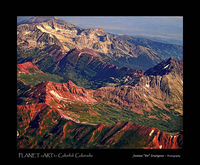 Colorful Colorado Rocky Mountains Planet Art Poster  Print by James BO  Insogna