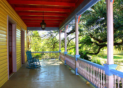Rocking Chairs Photograph - Colorful Creole Porch by Carol Groenen