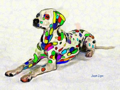 Dogs Painting - Colorful Dalmatian - Pa by Leonardo Digenio