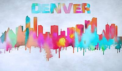 Lincoln Center Painting - Colorful Denver Skyline Silhouette by Dan Sproul