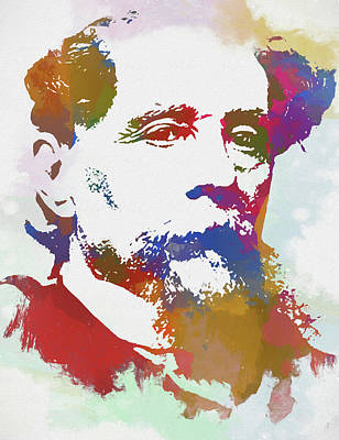 Author Mixed Media - Colorful Dickens by Dan Sproul