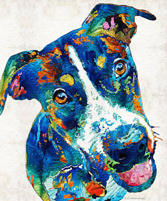 Custom Dog Portrait Painting - Colorful Dog Art - Happy Go Lucky - By Sharon Cummings by Sharon Cummings