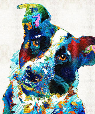 Colorful Dog Art - Irresistible - By Sharon Cummings Print by Sharon Cummings