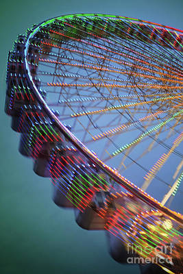 Rotate Photograph - Colorful Ferris Wheel by Carlos Caetano