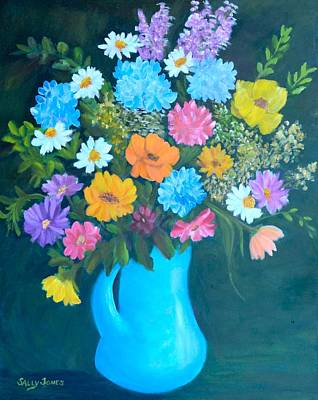 Pitcher With Flowers Painting - Colorful Flowers In A Blue Pitcher by Sally Jones