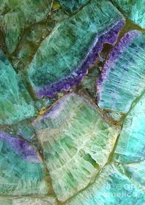 Semi Precious Stone Digital Art - Colorful Fluorite Semi Precious Gemstone Stone Texture by Tina Lavoie