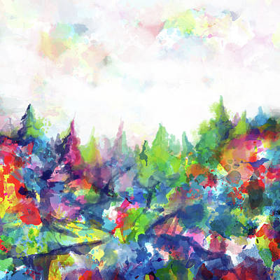 Colorful Forest Print by Bekim Art