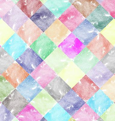 Digital Watercolor Digital Art - Colorful Geometric Patterns IIi by Amir Faysal