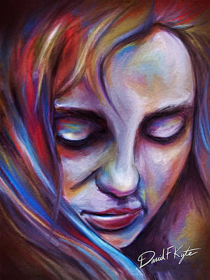 Grils Digital Art - Colorful Girl by David Kyte