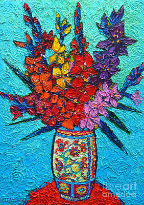 Pottery Painting - Colorful Gladiolus by Ana Maria Edulescu