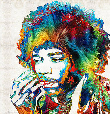 Music Painting - Colorful Haze - Jimi Hendrix Tribute by Sharon Cummings