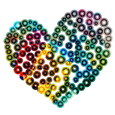 Colorful Heart Print by Frank Tschakert