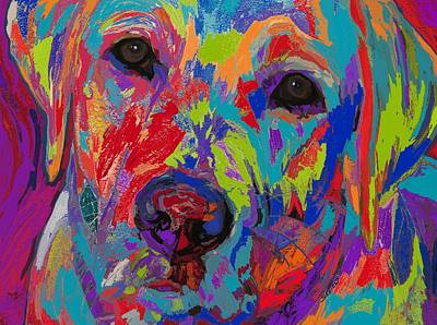 Abstract Dog Painting - Colorful Heart by Patti Siehien