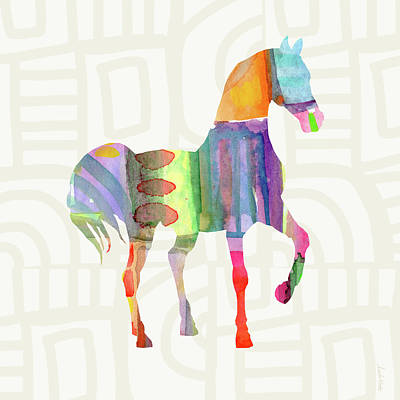Colorful Horse 3- Art By Linda Woods Print by Linda Woods