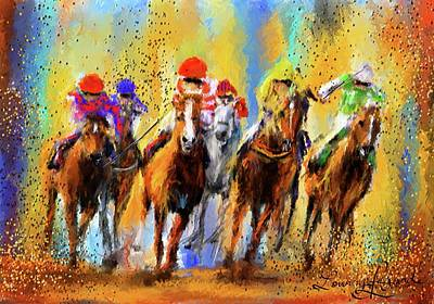 Colorful Horse Racing Impressionist Paintings Print by Lourry Legarde