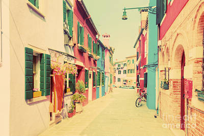 Paint Photograph - Colorful Houses On Burano Near Venice by Michal Bednarek