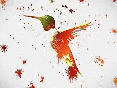 Hummingbird Mixed Media - Colorful Hummingbird Paint Splatter by Dan Sproul