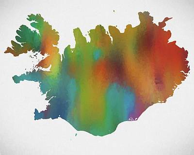 Arctic Mixed Media - Colorful Iceland Map by Dan Sproul