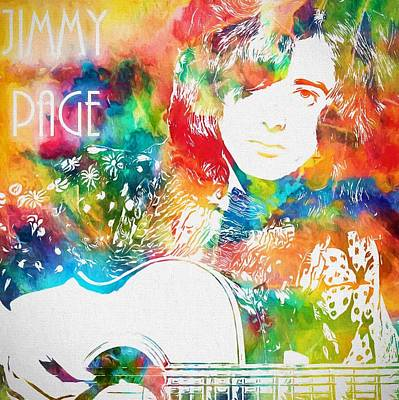 Yardbirds Painting - Colorful Jimmy Page by Dan Sproul