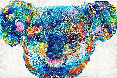 Colorful Koala Bear Art By Sharon Cummings Print by Sharon Cummings
