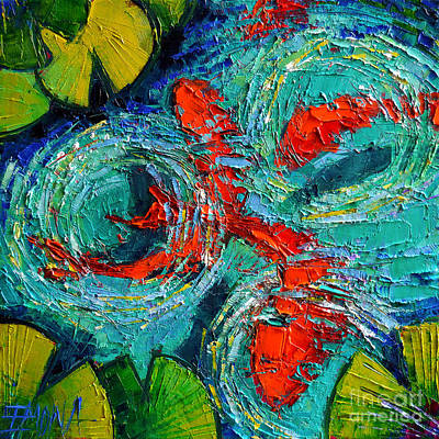 Colorful Koi Fishes In Lily Pond Original by Mona Edulesco